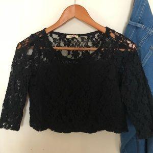 Tops - Very cute Black lace crop top